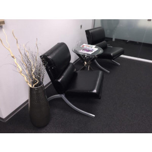 Black Leather Lobby Chair -  Product Picture 1