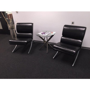 Black Leather Lobby Chair -  Product Picture 2